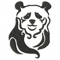Panda Machine Embroidery Design Single