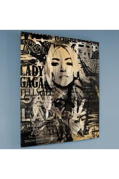 """Pop Culture Icons  """"Lady Gaga"""" ONE-OF-A-KIND Silkscreen Unique Variation on 35"""" x 42"""" Canvas signed by Gail Rodgers"""