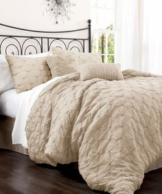 Take a look at this Taupe Lake Como Comforter Set by Lush Décor on #zulily today!