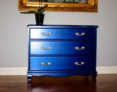 Custom color mix using Modern Masters metallic paint. Make Me Pretty Again Furniture Projects, Furniture Making, Furniture Makeover, Diy Furniture, Metallic Blue Paint, Blue Dresser, Tall Dresser, Chest Of Drawers Makeover, Modern Dresser
