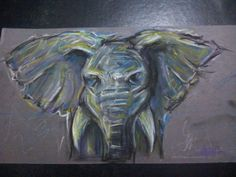Elephant - Pastels and pencil on grey cartridge paper.