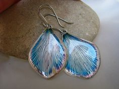 unique earrings- florizi- metal, real petals, resin
