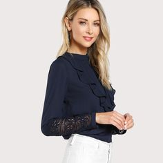 Elegant Contrast Lace Button Round Neck Long Sleeve Spring Back Insert