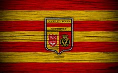 Download wallpapers Quevilly Rouen Metropole FC, 4k, Ligue 2, football, wooden texture, France, Quevilly Rouen Metropole, soccer, football club, Liga 2, FC Quevilly Rouen Metropole