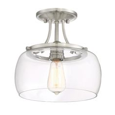 Bed room lights    Quoizel Soho 10.62-in W Brushed nickel Clear Glass Semi-Flush Mount Light