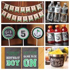 Boy Football Birthday Party Decorations.  6 piece party box.  Chalkboard / Green / Vintage Sports. by CharmingTouchParties on Etsy