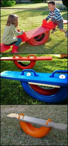 Build your kids their very own tire seesaw!ideas… This DIY proj… Build your kids their very own tire seesaw!ideas… This DIY project is a very great alternative to the usual, metal seesaws you can buy. A tire teeter totter is