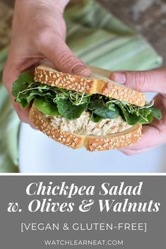 Vegan Chickpea Salad with Olives and Walnuts is a delicious gluten-free and vegan lunch that's ready in minutes with only 4 ingredients plus salt and pepper to taste! Perfect on a sandwich, over greens or as a cracker topper! Chickpea Recipes, Chickpea Salad, Veggie Recipes, Whole Food Recipes, Vegetarian Recipes, Healthy Recipes, Chickpea Sandwich, Salad Sandwich, Free Recipes