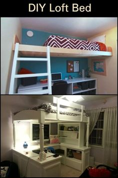 Now isn't this a clever use of space? This design is perfect for those who lack space, and requires functionality. Diy Bed, Build Your Own, Bunk Beds, Space Saving, Wood Crafts, Shelving, Stuff To Do, Loft, Diy Projects