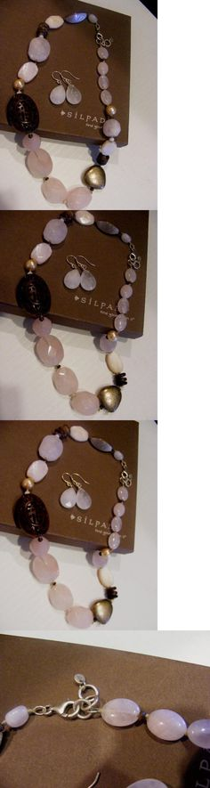 Sets 34071: Silpada 2P Set N1819 Necklace And Earrings Sterling Silver Pink Rose Quartz Wood -> BUY IT NOW ONLY: $58.89 on eBay!