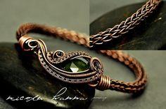 Wire Wrapped Vesuvianite, Copper Viking Knit Bracelet from Nicole Hanna Jewelry