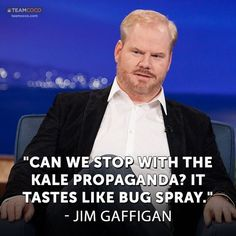 Jim Gaffigan, quoted for truth. Though Kale is perfectly acceptable as an ingredient, it's pretty foul straight up.