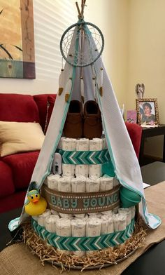 Teepee themed Diaper Cake