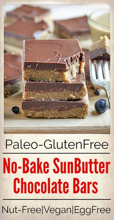 These Paleo No-Bake Nut-Free SunButter Chocolate Bars are so easy to make and totally irresistible. Soft, melt-in-your-mouth good and made healthy! They only contain 6 ingredients and are dairy free, gluten free, egg free, and Paleo Dessert, Dessert Sans Gluten, Paleo Sweets, Healthy Desserts, Dessert Recipes, Egg Free Recipes, Allergy Free Recipes, Real Food Recipes, Paleo Recipes