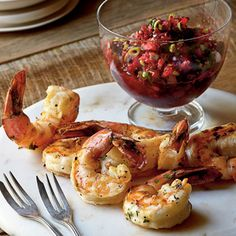 Grilled Shrimp with Fresh Cranberry Salsa < 15 Best Mouthwatering Cranberry Recipes - Coastal Living