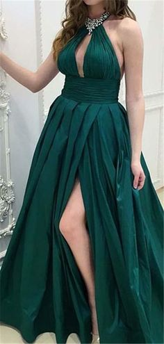 5b500f31458 Sexy Beaded Halter Side Slit Prom Dress 2019 Custom Made Satin School Dance  Dresses Fahion Long A-Line Evening Party Dresses SPD131