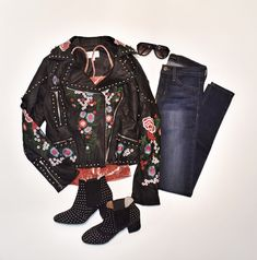 Fun faux leather, velvet and denim flatlay! Come downtown and let us style you for your girls night!