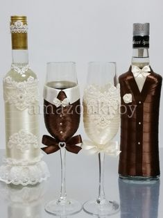 , look up handmade, old-fashioned, you regarding a style goods and gifts linked to each of your look. Bride And Groom Glasses, Wedding Wine Glasses, Wedding Bottles, Marie's Wedding, Wedding Crafts, Decorated Wine Glasses, Painted Wine Glasses, Bottle Painting, Bottle Art
