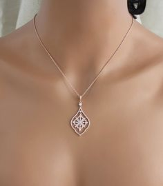 Rose gold Bridal necklace Bridal jewelry Crystal Wedding