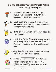 Test Taking Tips Strategy Poster FREE I disagree. Read the question, then the passage you will find your answers. Test Taking Skills, Test Taking Strategies, Test Anxiety, School Study Tips, Study Skills, School Counselor, Elementary Counseling, Stress Free, Word Stress
