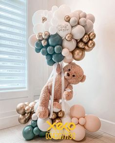Idee Baby Shower, Baby Shower Deco, Baby Shower Balloons, Baby Shower Themes, Baby Boy Shower, Teddy Bear Birthday, Baby Birthday Cakes, Deco Ballon, Birthday Balloon Decorations