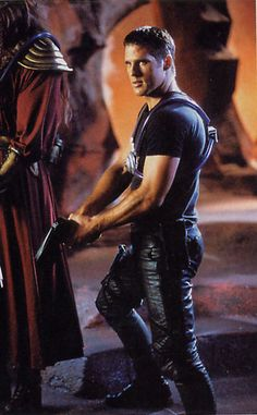 Someone at Farscape had the brilliant idea to put Ben Browder in tight leathery pants all the time.