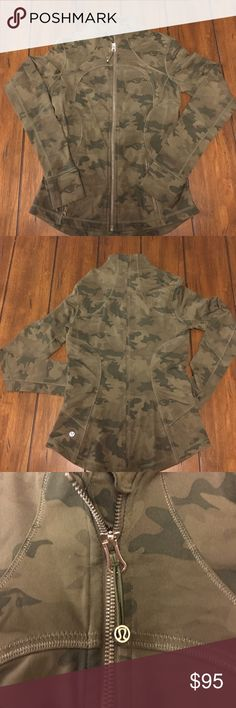 Lululemon Define Jacket Size 6 LuluLemon Define Jacket Size 6 * Camo * Thumb holes * Fold-over cuffs * Slim Fit * Hip Length.   Rip tag has been removed, size dot confirmed. lululemon athletica Jackets & Coats