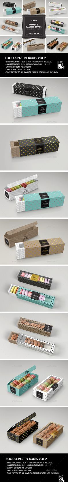 Food Pastry Boxes Vol.2: Cookies | Macarons | Pastry Take Out Packaging Mock Ups - Food and Drink Packaging
