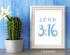 John Bible Art Scripture Prints Bible by Printable Bible Verses, Scripture Art, Bible Art, Have A Blessed Day, John 3, One And Only, Printables, God, Prints