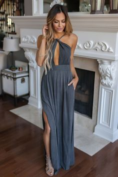 Mineral Wash Textured Twist Front Maxi- Charcoal - Dottie Couture Boutique