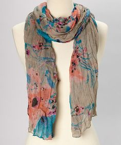 Take a look at this Taupe Floral Scarf by TROO on #zulily today! $14 !!