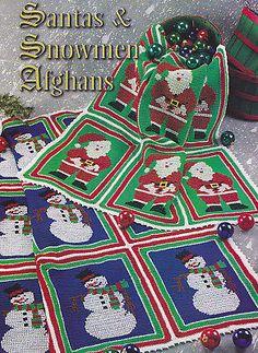 Crochet Pattern ~ SANTA & SNOWMEN CHRISTMAS AFGHANS ~ Instructions