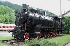 The last survivor of ÖBB class 95, former Südbahn class 82, displayed on plinth at Payerbach-Reichenau station on the Semmering railway. There these engines were primarily used for banking and double-heading of heavy trains.