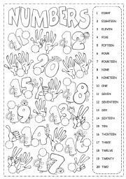 English worksheet: Numbers from 1 to 20