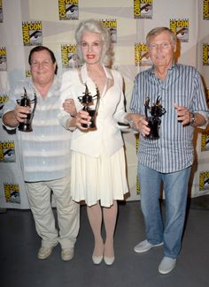 Burt Ward, Julie Newmar and Adam West, recipients of Comic-Con International's Inkpot Awards, attend the 'Batman: The Complete Series' DVD release presentation during Comic-Con International 2014 at the San Diego Convention Center on July 24, 2014 in San Diego, California.