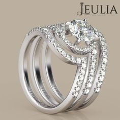 360 View of 3PC Halo Round Cut Created White Sapphire Rhodium Plating Sterling Silver Women's Ring