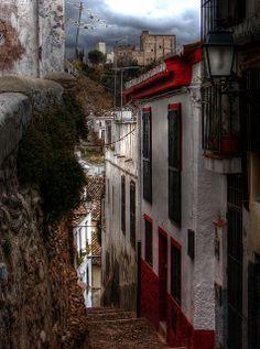 Alhambra from Albaicin Alley, Granada, Spain