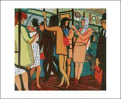 'The District Line, 1975' by Rupert Shephard  Linocut