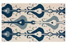 5'x8' Hanya Ikat Rug, Cream/Blue