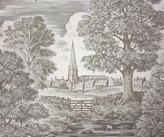 Royal Oak Wallcovering A magnificent wood block style print depicting the River Avon with vast oak trees and the steeple at St Marys Church. In taupe with hints of green on a light beige.