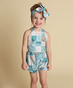 Love this Just Couture Blue Patchwork Lace-Trim Romper - Toddler & Girls by Just Couture on #zulily! #zulilyfinds