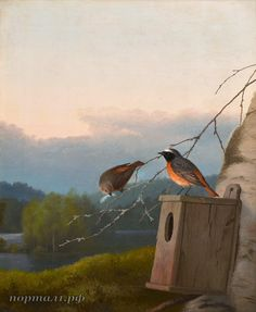 Ferdinand von Wright (1822-1906) REDSTARTS AT THE NEST 1895 Bird Tree, Ferdinand, Nest, Birds, Horses, Outdoor Decor, Painting, Home Decor, Naturaleza