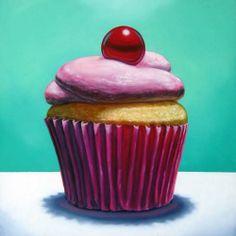 Cupcake Suite IV by Jeanne Vadeboncoeur Pink Cupcake, Cupcake Art, Cupcake Painting, Food Painting, Wayne Thiebaud, Cupcake Kunst, Incredible Edibles, Acrylic Painting Tutorials, Expressive Art