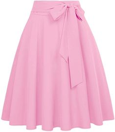 Women Solid Color High Waist Skirts SelfTie BowKnot Embellished Big Swing Keen Length Retro ALine Skirt Faldas Mujer Color Wine Size S Jupe Midi Rose, Skirt Outfits, Dress Skirt, Rockabilly Rock, Jupe Swing, Rosa Rock, Pink Pleated Skirt, Midi Flare Skirt, Flared Skirt