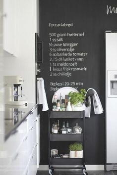 I love IKEA! Their units seem to be asking to hack them, and today I'd like to share some ideas for IKEA Raskog kitchen cart and ways to use it. Industrial Chic Kitchen, Ikea Industrial, Kitchen Chalkboard, Blackboard Wall, Chalkboard Paint, Chalk Wall, Magnetic Chalkboard, Ikea Raskog Cart, Ikea Cart