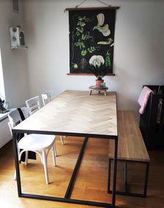 Visgraattafel - Home - Kitchen Decor, Oak Dining Table, House Interior, Furniture, Home, Interior, Dining Room Bench, Home Decor, Dining Room Table
