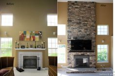 19 best stone veneer fireplace remodels before and after images in rh pinterest com