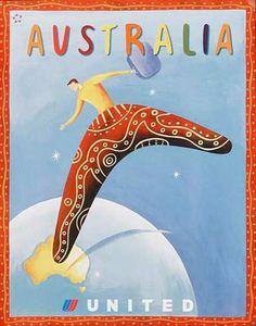 Vintage Travel Poster - Australia, United Airlines - Vintage Australia Travel Poster Art Print by Best Vintage Posters - X-Small Vintage Advertising Posters, Vintage Travel Posters, Vintage Advertisements, Vintage Airline, United Airlines, Posters Australia, Australian Vintage, Travel Design, Travel And Tourism