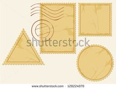 vector set of blank postage stamps (old post stamp set, postage stamp vector icons) - stock vector