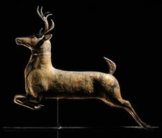 **Molded Gilt Copper Leaping Stag Weathervane